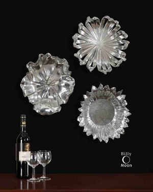 8503 Silver Flowers Set/3: Excellent Gift Option For Anyone Brand Uttermost