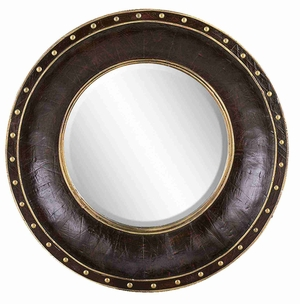 """89105 Wood Leather Mirror Round 33""""D- Refreshing Home Decor Brand Woodland"""
