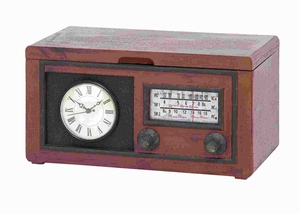 "9.75""H Unique Radio Attached Wood Cabinet with Antique Clock Brand Woodland"