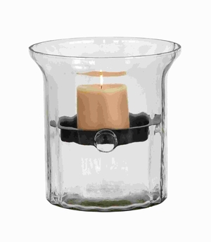"9""H Attractive Glass Metal Candle Holder Clear Glass Case Brand Woodland"