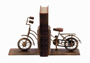 """9""""H Attractive Metal Bookend Sporting A Cycle Shaped Design Brand Woodland"""