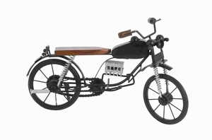 """9"""" H Metal Wood Miniature Motorcycle in Contrasting Colors Brand Woodland"""
