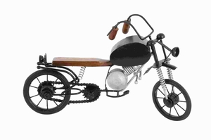 """9""""H Metal Wood Motorcycle Elaborate and Realistic Details Brand Woodland"""