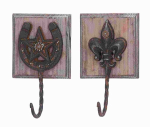 """9""""H Metal Wood Wall Hook Assorted in Metallic Finished (Set of 2) Brand Woodland"""