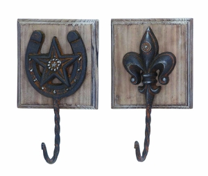 """9""""H Metal Wood Wall Hook Assorted in Metallic Finished (Set of 2) - 92317 by Benzara"""