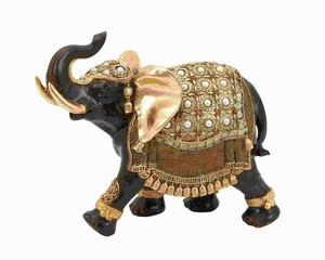 """9""""H Polystone Elephant with Intricate Detailing and Carvings Brand Woodland"""