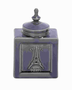 "9""H Unique Designed Ceramic Jar with Eiffel Tower Image Brand Woodland"