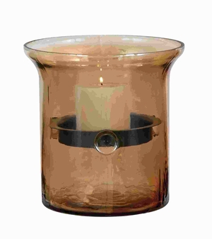 "9""H Unique Glass Metal Candle Holder with Smoky Glass Outer Case Brand Woodland"