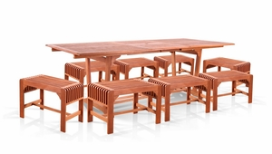 9-Piece Dining Set with Extension Table and Backless Benches by Vifah