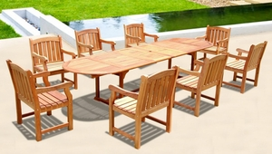 9-Piece English Garden Dining Set with Oval Extension Table by Vifah