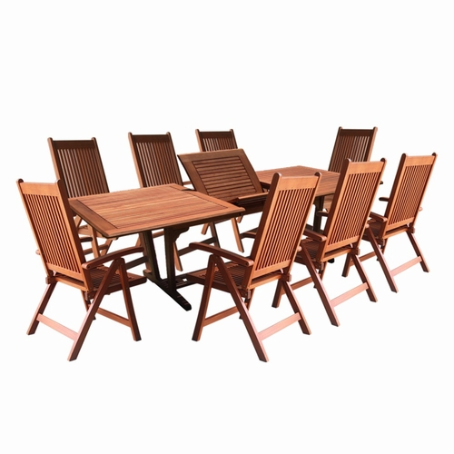 home clearance vifah 9 piece outdoor wood dining set with rectangular