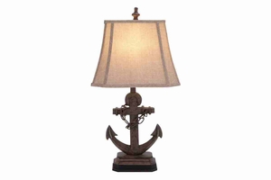 "95765 Polystone Anchor Lamp 28""H- Set /2 Corner Table Light Brand Woodland"