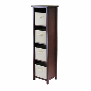 A Perfect Verona 4 Section Storage Shelf with 4 Beige Color Basket by Winsome Woods