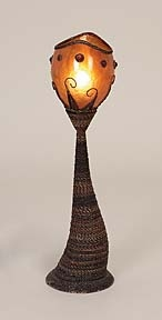 "Abaca Woven Table Lamp With Glass Shade 24"" H Brand Woodland"