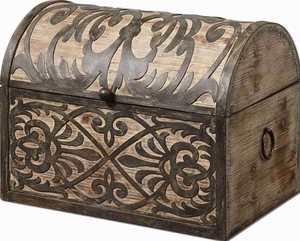 Abelardo Rustic Wooden Box With Wrought Iron Metal Details Brand Uttermost