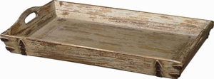 Abila Style Tray In Natural Fir Wood and Bronze Accents Brand Uttermost