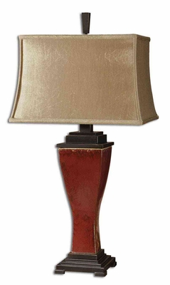 Abiona Red Table Lamp with Bronze Metal Detailing Brand Uttermost