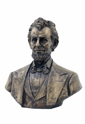 Abraham Lincoln Bust Statue with Cold Cast Bronze Construction Brand Unicorn Studio