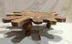 Abstract Ampyang Durable Coffee Table with Bold Natural Contours Brand Woodland