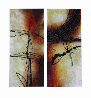 Abstract Art Style Painted Canvas With Fine And Broad Strokes Brand Woodland