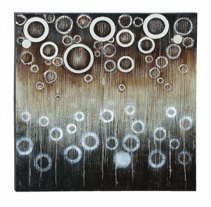 Abstract Circle And Bubble Painting On Wood Painted Canvas Brand Woodland
