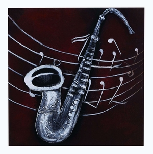 Abstract Instrument Painted Canvas With Silver Saxophone Brand Woodland