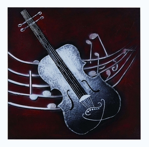 Abstract Instrument Painted Canvas With Silver Violin Brand Woodland