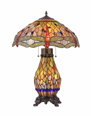 Abstract Tiffany Style Fancy Dragonfly Table Lamp by Chloe Lighting