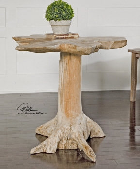 Accent Table - Natural Unique Stand With Solid Teak Wood Brand Uttermost