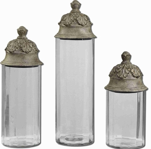 Acorn Style Canisters In Textured Clear Glass Cylinders Brand Uttermost