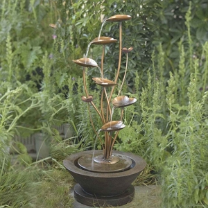 Acqua Di Loto Lotus Outdoor Fountain with Natural Designs Brand Zest