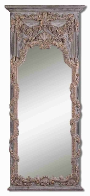 Adalina Wall Mirror with Burnished Vine and Shell Design Brand Uttermost