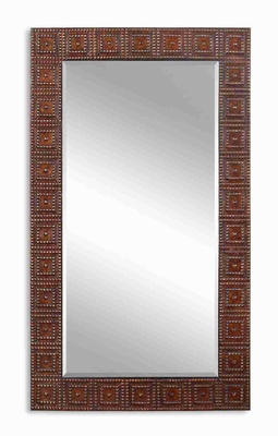Adel Oversized Mirror with Hand Hammered Bronze Finish Brand Uttermost