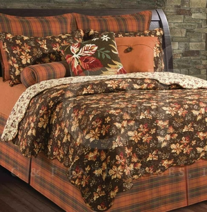 Adirondacks Oversized King Quilt with Cotton Fill in Brown Brand C&F