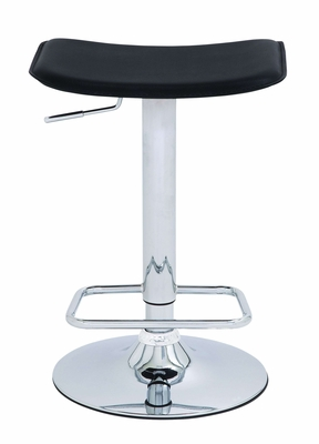 Adjustable Metal Chrome Vinyl Bar Stool in Black and Silver Brand Woodland