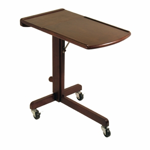 Winsome Wood Adjustable Wooden Foldable Laptop Cart with Wheels