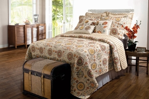 Adora Quilt Colorful Floral Contemporary Twin Set Brand Greenland