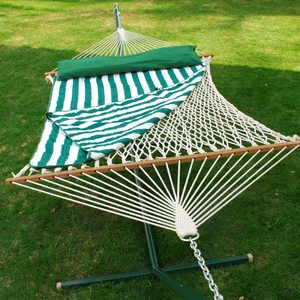 Adorable 13' Cotton Rope Hammock w/ Hanging Hardware, Pad, and Pillow by Alogma