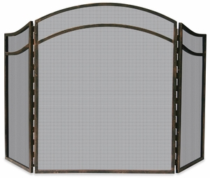 Adorable 3 Fold Antique Rust Wrought Iron Arch Top Screen