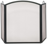 Adorable 3 Fold Black Wrought Iron Arch Top Large Screen