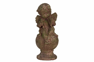 Adorable Antique Stoneware Sitting Cupid in Moss Finish