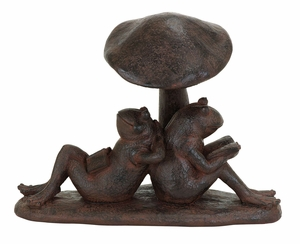 Adorable Best Friend Reading Garden Frogs Statue in Polystone Brand Woodland