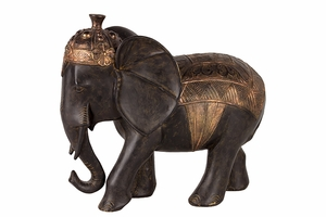 Adorable Black Resin Elephant with Golden Crown by Urban Trends Collection