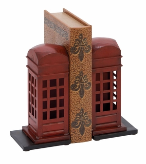 Adorable Book Ends - London Phone booth Bookends Brand Woodland