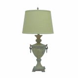 Adorable Customary Styled Resin Table Lamp with Fabric Shade by Yosemite Home Decor