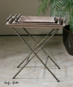 Adorable Decorative Tray Table With Iron And Weathered Wood Brand Uttermost