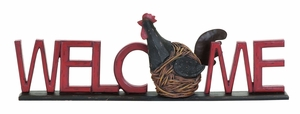 Adorable Garden Hen Welcome Sign From Heavy Polystone Cast Brand Woodland