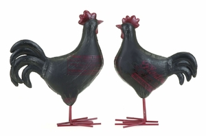 Adorable Garden Rooster Set From Heavy Polystone Cast Brand Woodland