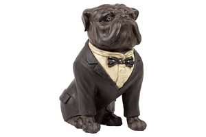Adorable Large Artifact of Resin Bull Dog with Boe Tie