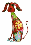 "Adorable Multicolored Iron Dog Garden and Lawn Decor 17""H, 12""W by Benzara"